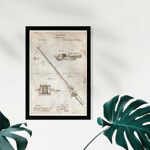 Wynwood Studio Framed Wall Art Prints 'Fishing Rod 1884 Parchment'