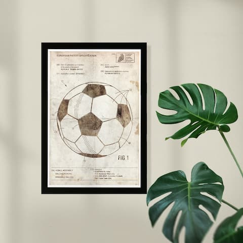 Wynwood Studio Framed Wall Art Prints 'Soccer Ball 2012 Parchment'