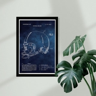Link to Wynwood Studio Sports and Teams Framed Wall Art Prints 'Football Helmet 1973 Blue Chalkboard' Football Home Décor - Blue, White Similar Items in Art Prints