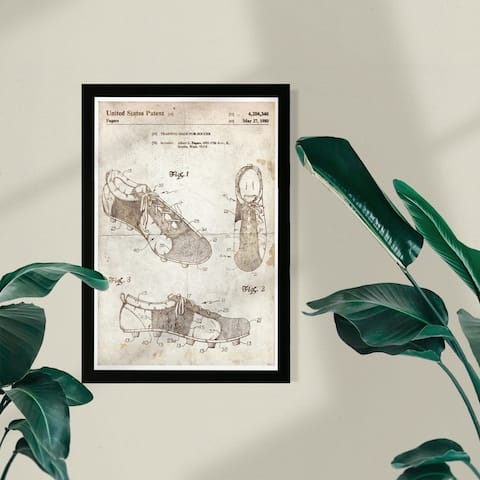 Wynwood Studio Sports and Teams Framed Wall Art Prints 'Training shoe for soccer 1980 Parchment' Soccer - Brown, White
