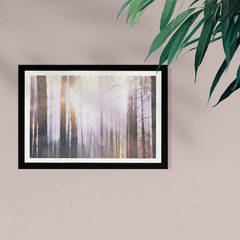 Wynwood Studio Nature and Landscape Framed Wall Art Prints 'Fairy Forest' Forest Landscapes Home Décor - Brown, White