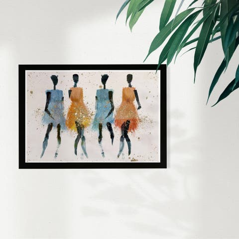 Wynwood Studio Fashion and Glam Framed Wall Art Prints 'Sun Gals' Dress Home Décor - Black, Blue - 19 x 13