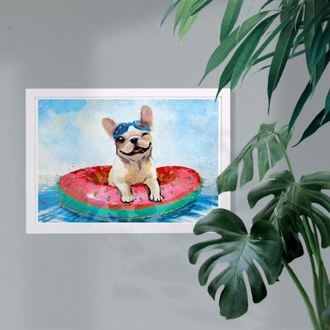 Wynwood Studio Animals Framed Wall Art Prints 'Sunny Funny Puppy' Dogs and Puppies Home Décor - Gold, Gray