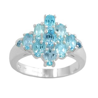 Fremada Sterling Silver Oval and Round Sky Blue Topaz Ring