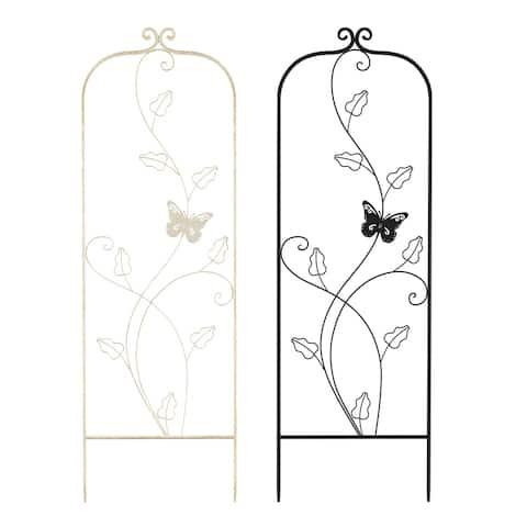46-inch Metal Garden Trellis with Butterfly Pattern by Pure Garden