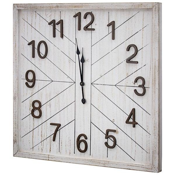 """Whitewashed MDF Wood Oversized Wall Clock 32"""""""