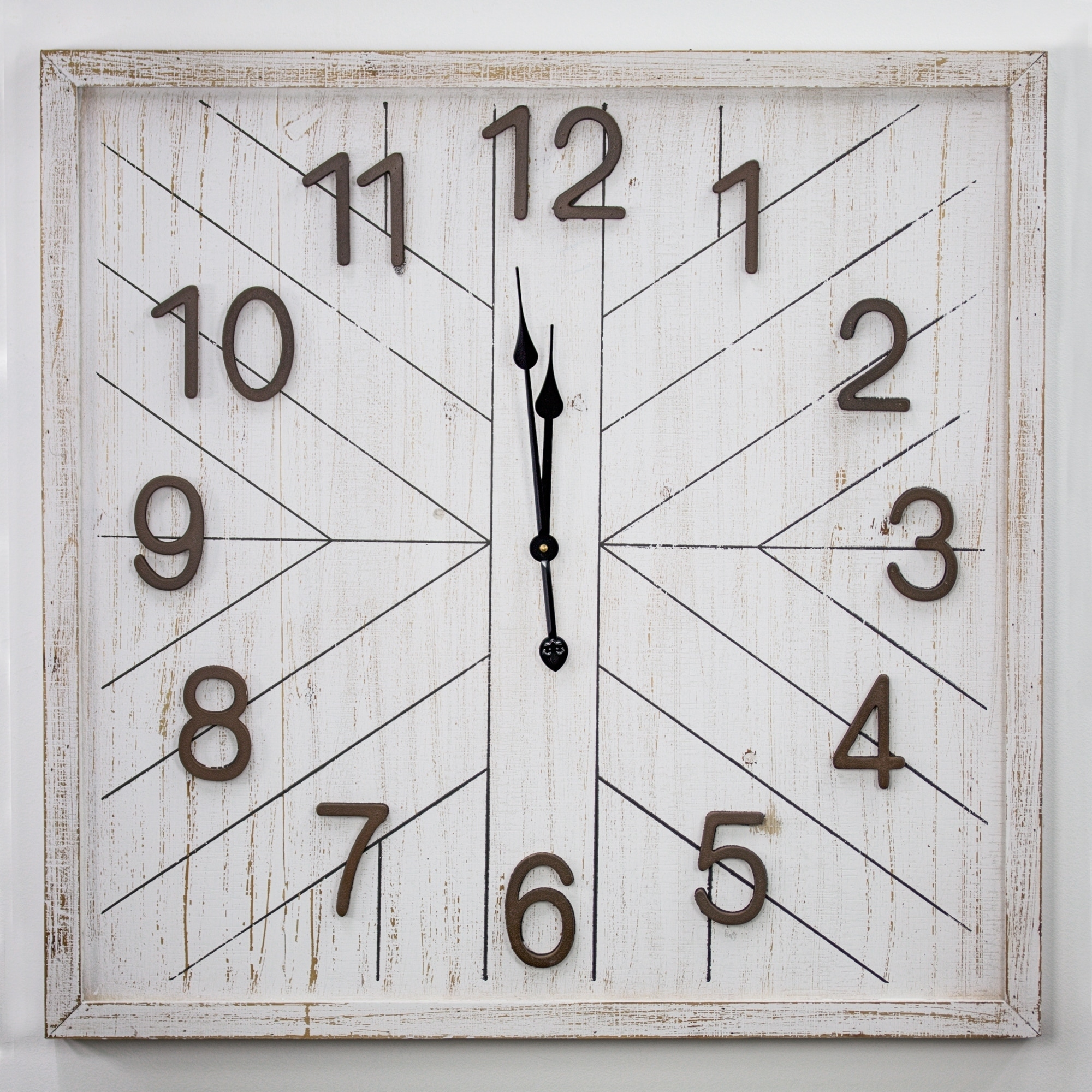 Whitewashed Mdf Wood Oversized Wall Clock 32 On Sale Overstock 30250862