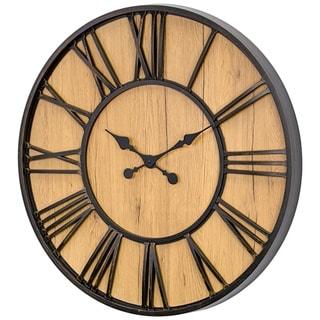 "MDF and Plastic Oversized Wall Clock - Black/Wood Veneer - 30"""