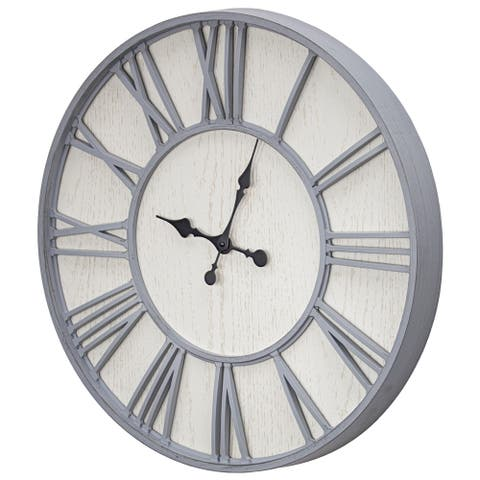 MDF and Plastic Oversized Wall Clock - Whitewashed - 24""