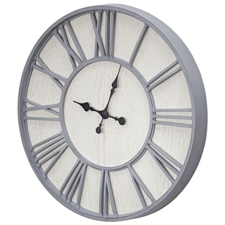 """MDF and Plastic Oversized Wall Clock - Whitewashed - 24"""""""
