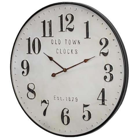 "Old Town Clocks Vintage Oversized Metal Wall Clock - 31"""
