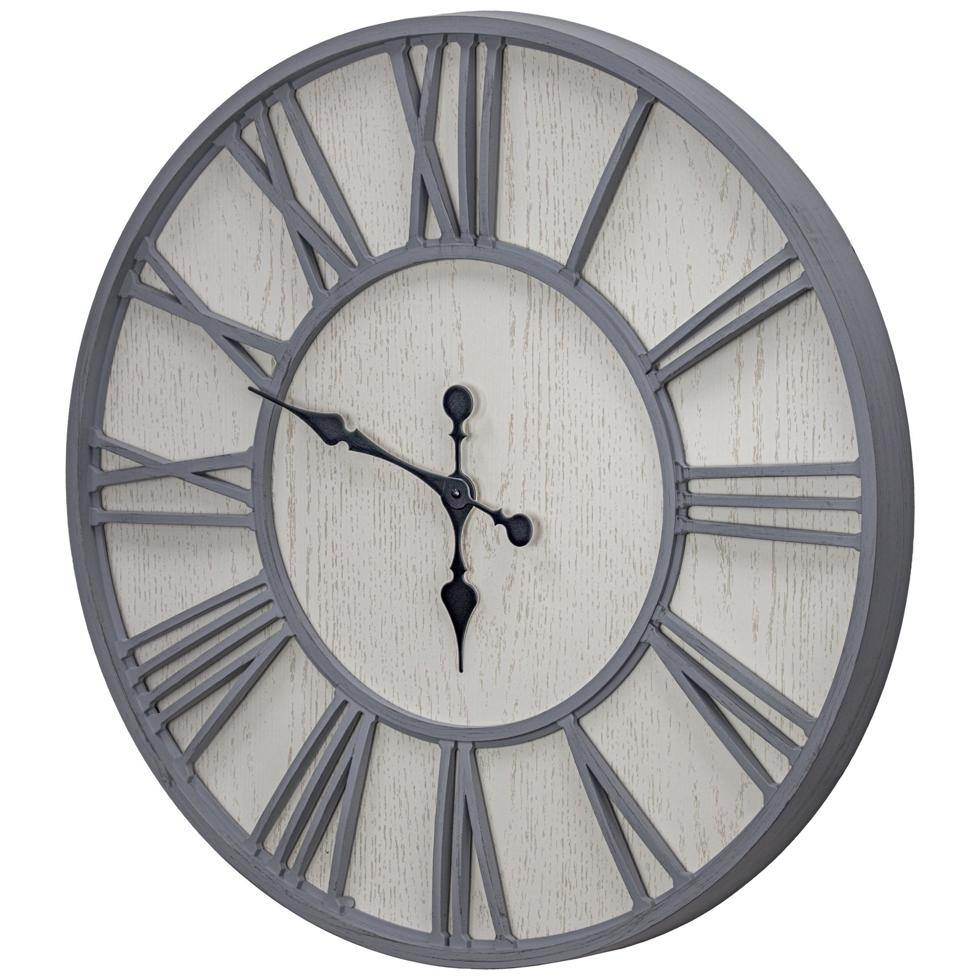 Mdf And Plastic Oversized Wall Clock Whitewashed 30 Overstock 30250866