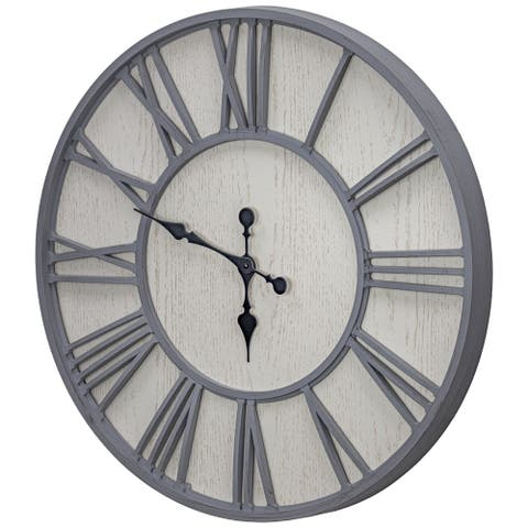 MDF and Plastic Oversized Wall Clock - Whitewashed - 30""