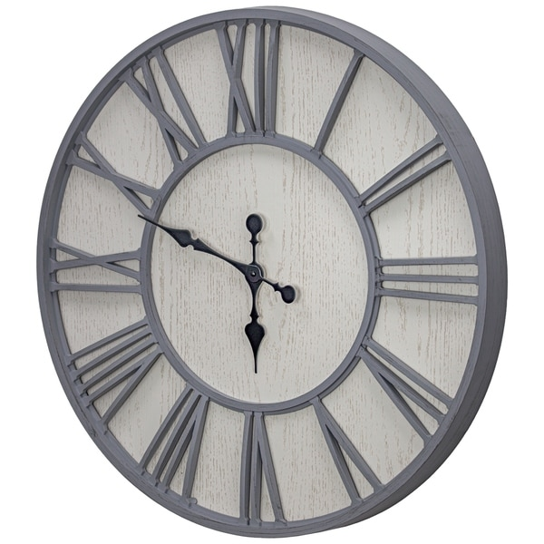 """MDF and Plastic Oversized Wall Clock - Whitewashed - 30"""""""