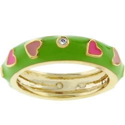 Kate Bissett Pink Hearts Green Enamel CZ Ring