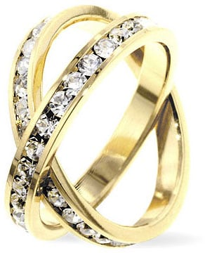 Kate Bissett Goldtone Criss-cross Cubic Zirconia Eternity Ring