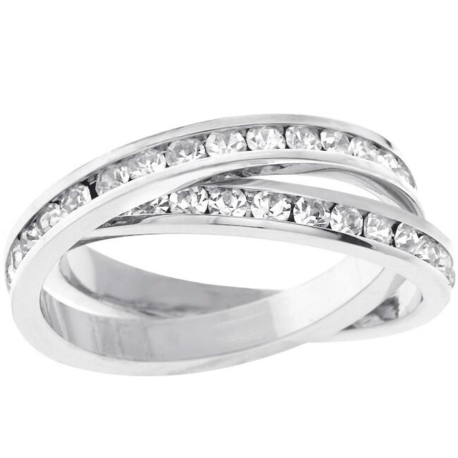 Kate Bissett Silvertone Criss-cross CZ Eternity Ring