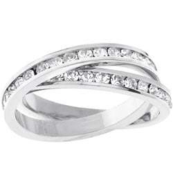 Kate Bissett Silvertone Criss-cross CZ Eternity Ring