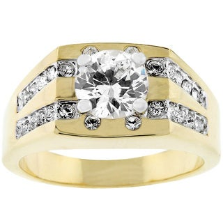 Men's Goldtone Square Top CZ Ring (5 options available)