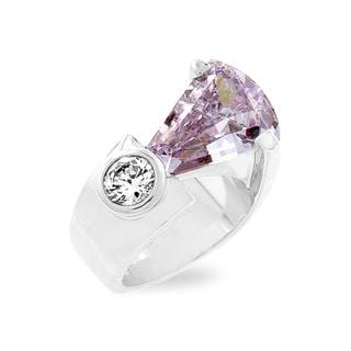 Kate Bissett Silvertone Lavender CZ Fashion Ring
