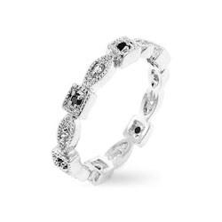 Kate Bissett Silvertone Multicolor CZ Eternity Ring