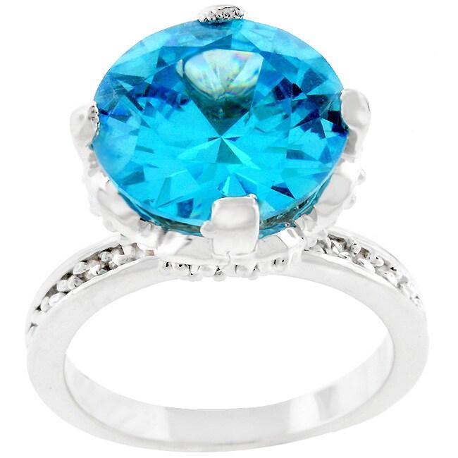 Kate Bissett Silvertone Large Blue CZ Ring