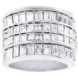 Kate Bissett Silvertone Four-row CZ Cocktail Ring