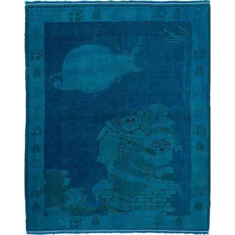 """Hand-knotted Color Transition Cyan, Blue Wool Rug - 4'3"""" x 5'3"""""""
