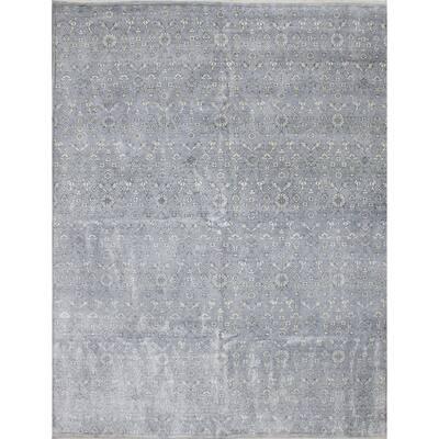 Hand-knotted Jules Ushak Grey Silk Rug