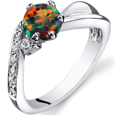 0.5 ct Round Created Black Opal Cluster Ring in Sterling Silver