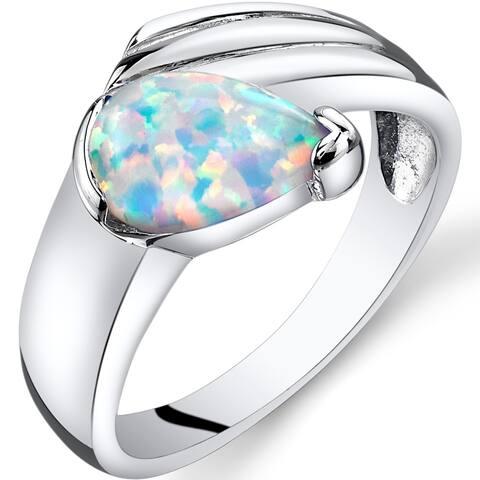 0.75 ct Pear Shape Created White Opal Teardrop Ring in Sterling Silver