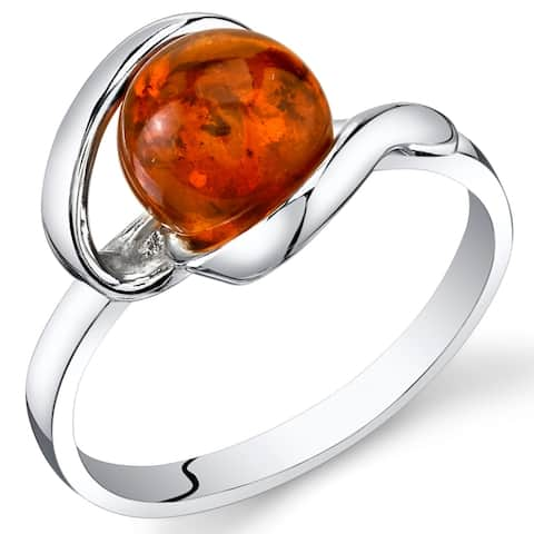 Baltic Amber Spiral Ring in Sterling Silver