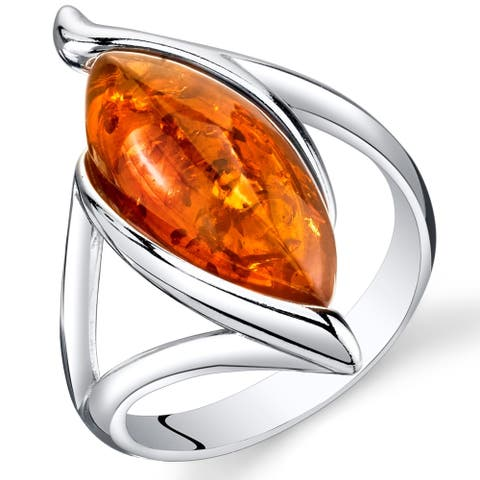 Amber Elliptical Shape Ring in Sterling Silver