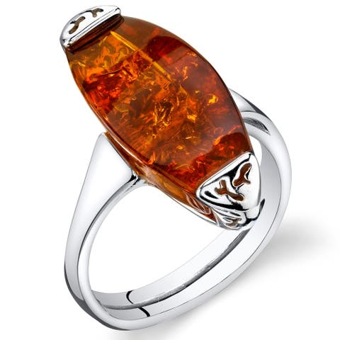 Amber Gallery Ring in Sterling Silver