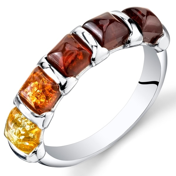 Five-stone Amber Ring in Sterling Silver. Opens flyout.