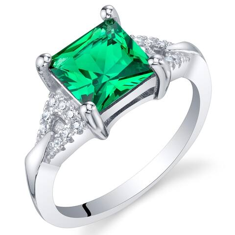 1.5 ct Princess Cut Simulated Emerald Ring in Sterling Silver