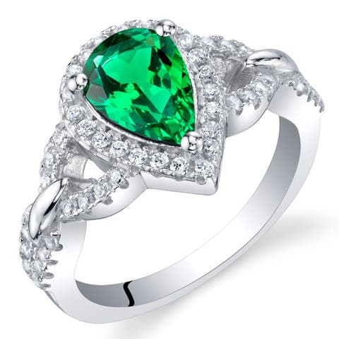 1 ct Pear Shape Simulated Emerald Halo Ring in Sterling Silver