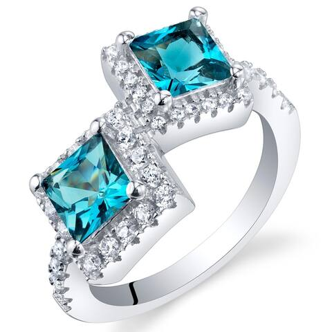1.5 ct Princess Cut London Blue Topaz Two-stone Ring in Sterling Silver