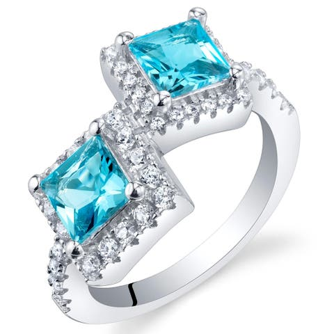 1.25 ct Princess Cut Swiss Blue Topaz Two-stone Ring in Sterling Silver