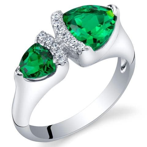 1 ct Trillion Cut Simulated Emerald Two-stone Ring in Sterling Silver