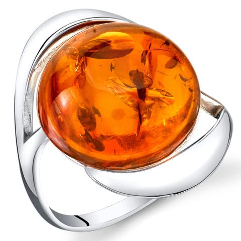 Amber Swirl Design Ring in Sterling Silver