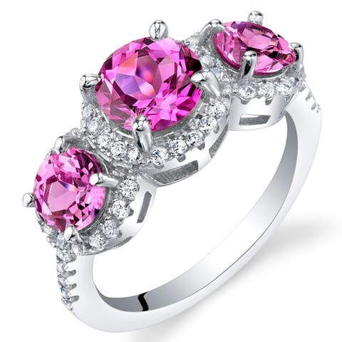 2.75 ct Round Created Pink Sapphire Halo Ring in Sterling Silver