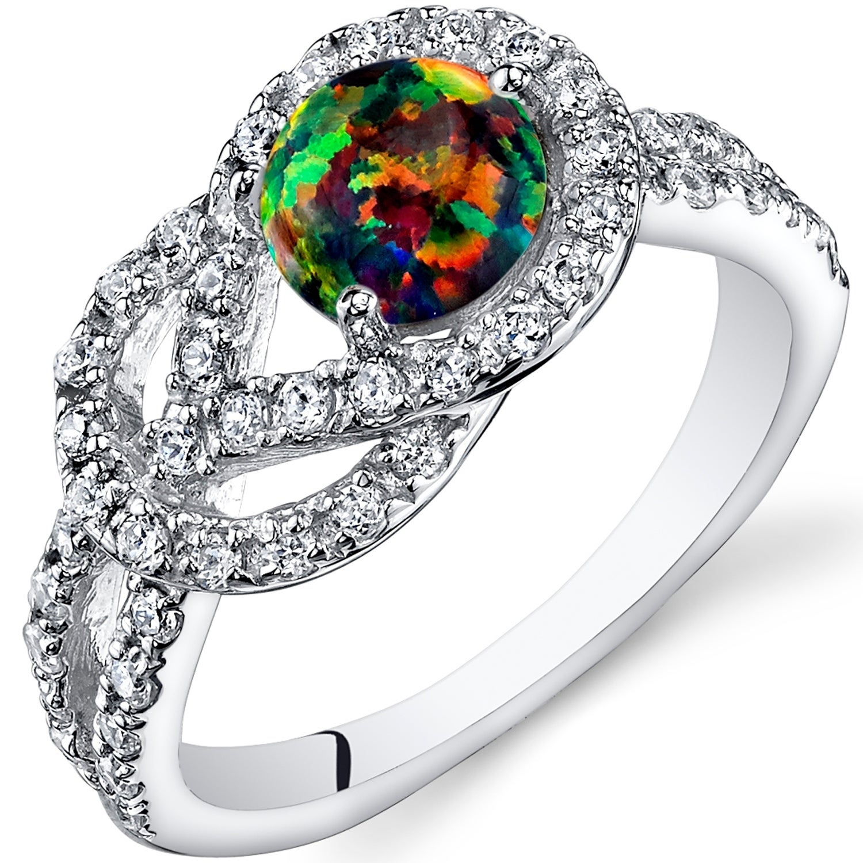 Black Opal /& Diamond Round Ring .925 Sterling Silver