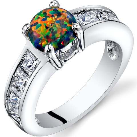 1 ct Round Created Black Opal Cluster Ring in Sterling Silver