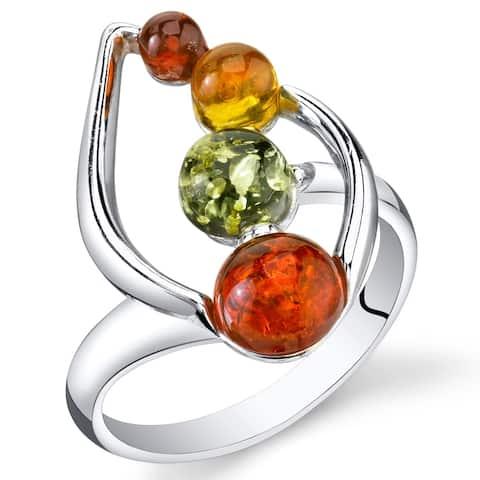 Baltic Amber Leaf Design Ring in Sterling Silver