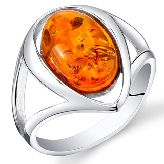 Link to Oval Shape Amber Ring in Sterling Silver Similar Items in Rings