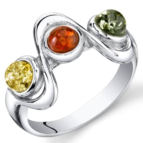 Three-stone Amber Ring in Sterling Silver