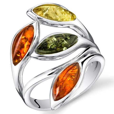 Green and Yellow Amber Ring in Sterling Silver