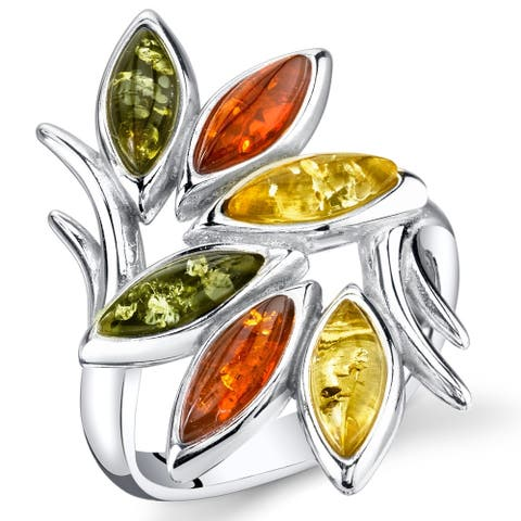 Branch and Leaf Design Amber Ring in Sterling Silver