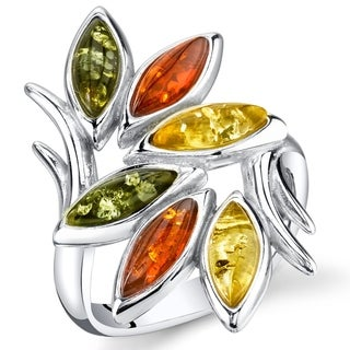Link to Branch and Leaf Design Amber Ring in Sterling Silver Similar Items in Rings